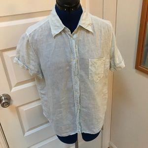 MaxMara Weekend Blue Linen Button Down